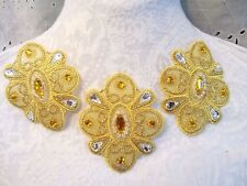"3"" GEM JEWELS Iron-On Medallion Appliques (3 pc) - BRIGHT GOLD"