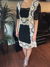 BRAND NEW DOLCE & GABBANA SEXY Black White & Beige Floral Lace Dress Sz 42 6 NWT