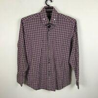 Bogosse Dress Shirt Size 4 Maroon Plaid Button Front Long Sleeve Cotton Mens