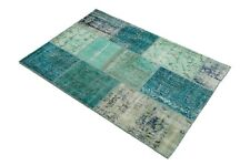 Authentic VINTAGE Area 4x6 Oushak Living Room Teal Turquoise Wool Patchwork Rug