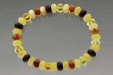 Button Shape Beads Genuine Baltic Amber Stretch Bracelet 7g b170607-19