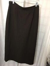 #376--Petite Sophisticate brown stripes skirt, lined, size 12-