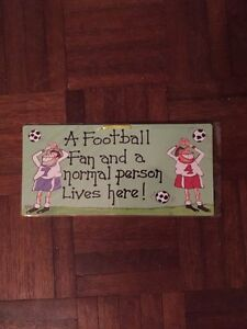 """""""A Football Fan And A Normal Person Lives Here!"""" Hanging Smiley Sign"""
