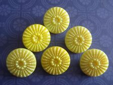 6 Vintage Glass Buttons Lemon Iridescent 18mm Scrapb Jewelry Craft Sew Knit