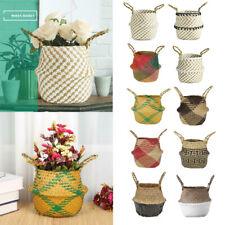 Flower Pot Planter Wall Hanging Basket Straw Rattan Storage Organizer Home Decor