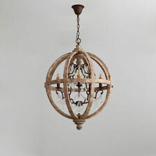 Rustic Retro Weathered Wooden Globe Caged Metal Scroll Crystal Chandelier Rust