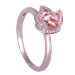 14K Rose Gold Semi Mount Round Cut 6mm Wedding Natural Diamond petaline Ring 6.5