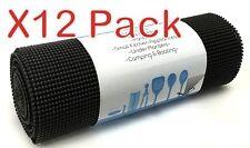 12 PACK Rainforest Non-Adhesive Non-Slip Shelf & Drawer Liner 12In x 20Ft Black