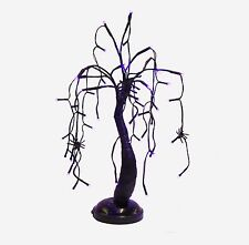 "Spooky Halloween Weeping Spider Tree 15"" Purple LED Battery Op Figurine New"