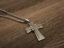 Russell Simmons Mens Jewelry Stainless SS Steel Real Diamond Cross Pendant $1875