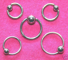 5 x Captive Bead Rings CBR BCR 14 & 16gauge TOP QUALITY  MIX SET!!!