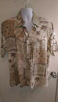 Kona Kai Mens Silk / Cotton Casual Hawaiian Shirt - Size Large