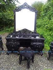 Matt or Saten BLACK Gothic Oriental Rococo Dressing table mirrored frame & stool