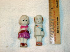 "Two Vtg Bisque/Penny Doll/Frozen Charlottes 2-1/2"" Girls"