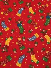 """Trena Hegdhal Christmas Fabric Red with Bright Socks 42""""W X 105""""L (2.9 yds)"""