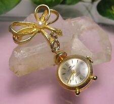 Vintage Ladies SWISS MANUAL WIND BROOCH or PENDANT WATCH ALARM CLOCK SHAPE Works