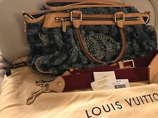 Authentic Louis Vuitton Monogram Denim Porte Epaule Cruise Cabas Raye