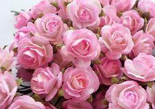 100! Cute Handmade Mulberry Paper Roses - 10mm - Lovely Pink & White Blush Rose!