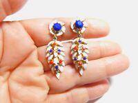 Red White Blue Rhinestone Enamel Gold Tone Metal Dangle Clip On Earrings Vintage