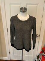 Madewell Women's Blue & White Wavy Knit Sweater, Size XS