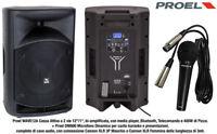 Proel WAVE12A Cassa Attiva BiAmlificata 400w + Proel DM800 Microfono con Cavo