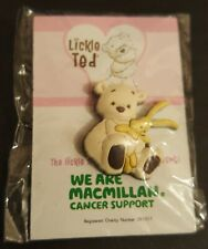 Lickle Ted - Teddy Bear Sitting Down with Rabbit - Charity Rubber pin Badge #CH