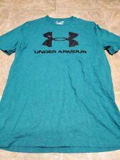 Mens Blue Under Armour Heatgear Short Sleeve Tee Shirt Loose Fit Size Small S