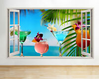 Wall Stickers Cocktails Summer Paradise Cool  Bedroom Girls Boy Living Room F495
