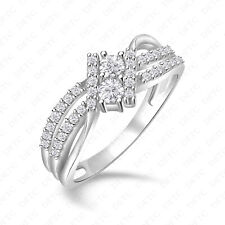 Stone Bypass Ring For Women Size 4-12 14k White Gold Finish 1.00Ct Diamond Two