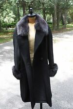 Louis Feraud 10 Mohair Genuine Fur Collar 36 Trim Long Wool Coat Ladies Black