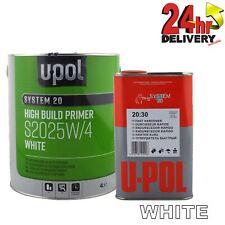 UPol 2K 5 Litre High Build Paint Primer Kit WHITE S2025 +S2030 Fast Hardener Kit