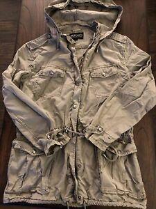 BUFFALO DAVID BRITTON Khaki or Beige Anorak Utility Hooded 4 Pocket Jacket M GUC