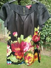 MONSOON SIZE 14 BLACK & COLOURFUL FLORAL SILK BLOUSE TOP