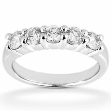 1.90 carat F color Si1 clarity 5 Round Diamond Wedding Band Platinum Ring,