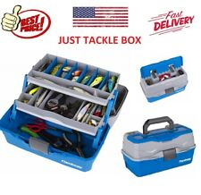 Fishing Tackle Box Storage Case With 2 Tray Flip-top Lid Full Travel Holder Pack