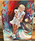 Amanda Coetzer WTA tennis 1998 original 30x40 oil painting by Barbara Mittelmann
