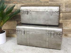 Industrial Storage Chest Set 2 Steel Trunks Blanket Vintage Retro