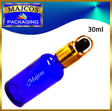 30ml empty Cobalt Blue Glass Bottles with Golden Black Top Glass Pipette Dropper