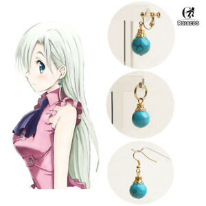 The Seven Deadly Sins Elizabeth Turquoise Pendant Earring Ear Clip Cosplay Props