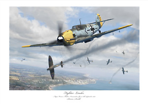 BATTLE OF BRITAIN FIGHTER ACE Mölders BF109E JG51 LIMITED EDITION SIGNED PRINT