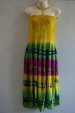 Ladies dress Free size Hippie Boho Gypsy beach casual wear Multi-colored Yellow