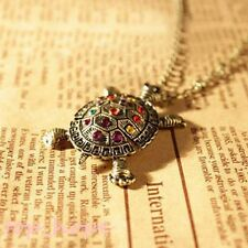 Women Crystal Bronze Plated Tortoise Sea Turtle Pendant Chain Sweater Necklace