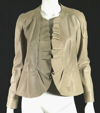 PRINGLE OF SCOTLAND Taupe Lambskin Ruffled Trim Leather Jacket 8