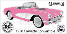 Chevrolet Corvette 1958 Convertible  Sticker - Pink