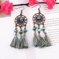 Bohemian Dream Catcher Earrings Long Tassel Earrings Hook Drop Dangle Earrings