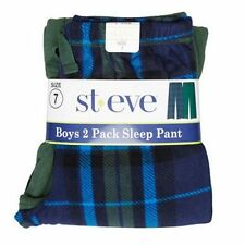NEW St. Eve Boy's Cozy Fleece Elastic Waist Sleep Pant 2-pack Green/Blue Plaid 8