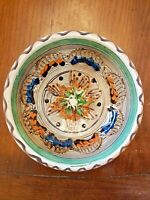 Antique Vintage Mexican Ceramic Bowl Folk Art Handmade Painted Pottery Clay 6""