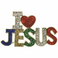Plate Sparkling Enamel Red Silver Blue Grn New I Love Jesus Pin Brooch 18K Gold