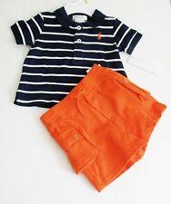 Ralph Lauren Baby Boys Striped Polo Shirt & Cargo Shorts French Navy Sz 3M - NWT