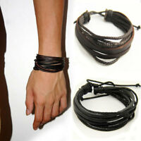 Fashion Mens Boys Handmade Leather Braided Surfer Wristband Bracelet Bangle Wrap